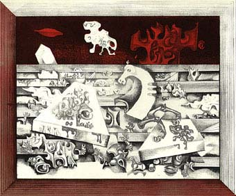 "Birute Zilyte, Lithuania, ""Zalgiris I"". Coloured lithograph, 55,5 x 67, 5 cm. 1970"